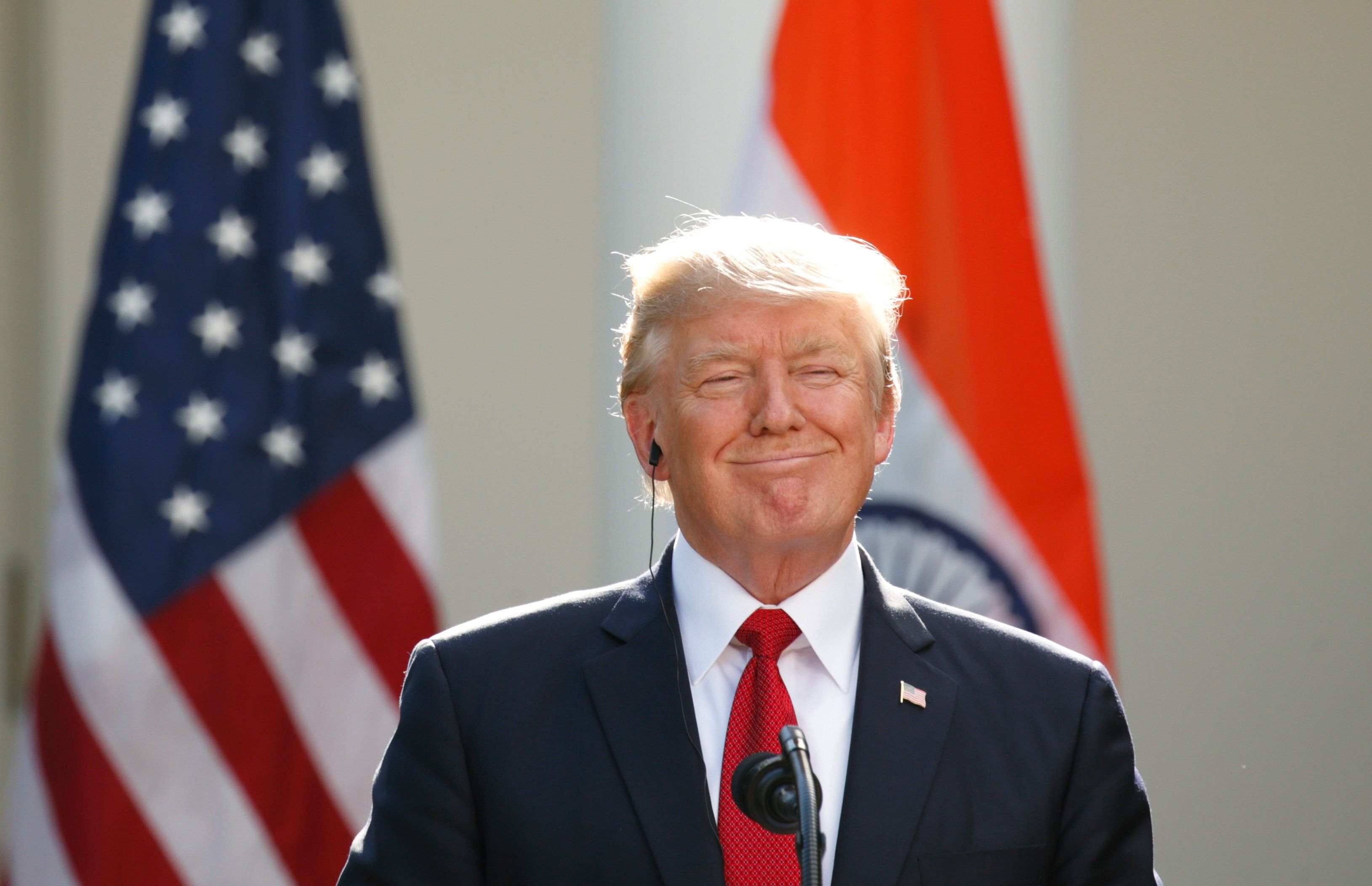 U.S. President Donald Trump smiles during a joint news conference with Indian Prime Minister Narendra Modi in the Rose Garden of the White House in Washington, U.S., June 26, 2017.