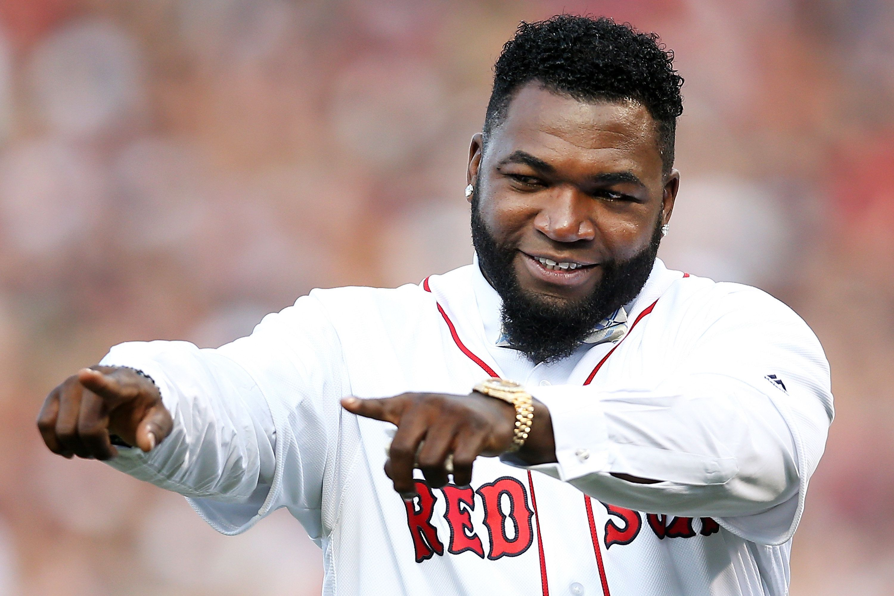 BOSTON, MA - JUNE 23:  Former Boston Red Sox player David Ortiz #34 reacts during his jersey retirement ceremony before a game against the Los Angeles Angels of Anaheim at Fenway Park on June 23, 2017 in Boston, Massachusetts.  (Photo by Adam Glanzman/Getty Images)