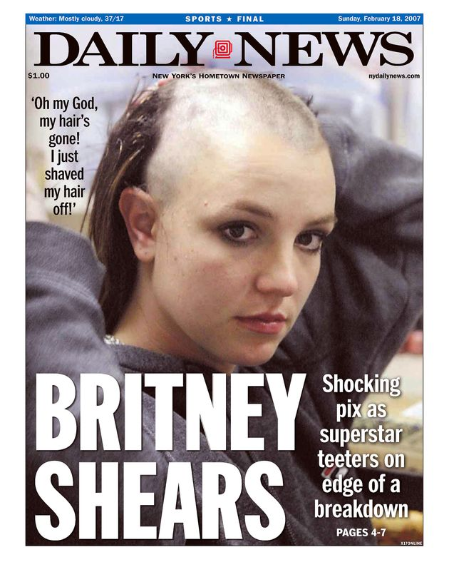 Britney's well documented public meltdown resulted in front pages like