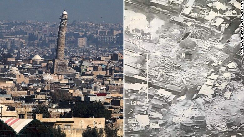 Before and after images of the Great Mosque of al-Nuri show the scale of destruction.