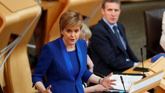 Scotland's First Minister, Nicola Sturgeon, addresses the Scottish Parliament in Edinburgh, Scotland June 27, 2017.  REUTERS/Russell Cheyne