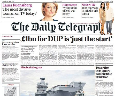 The Daily Telegraph trails the Laura Kuenssberg article on its front