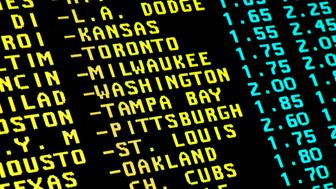 Sight on monitor with the teletext and betting offer of baseball matchups.
