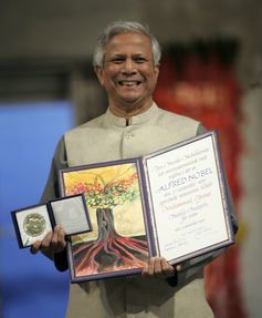 Muhammad Yunus with his Nobel Prize.