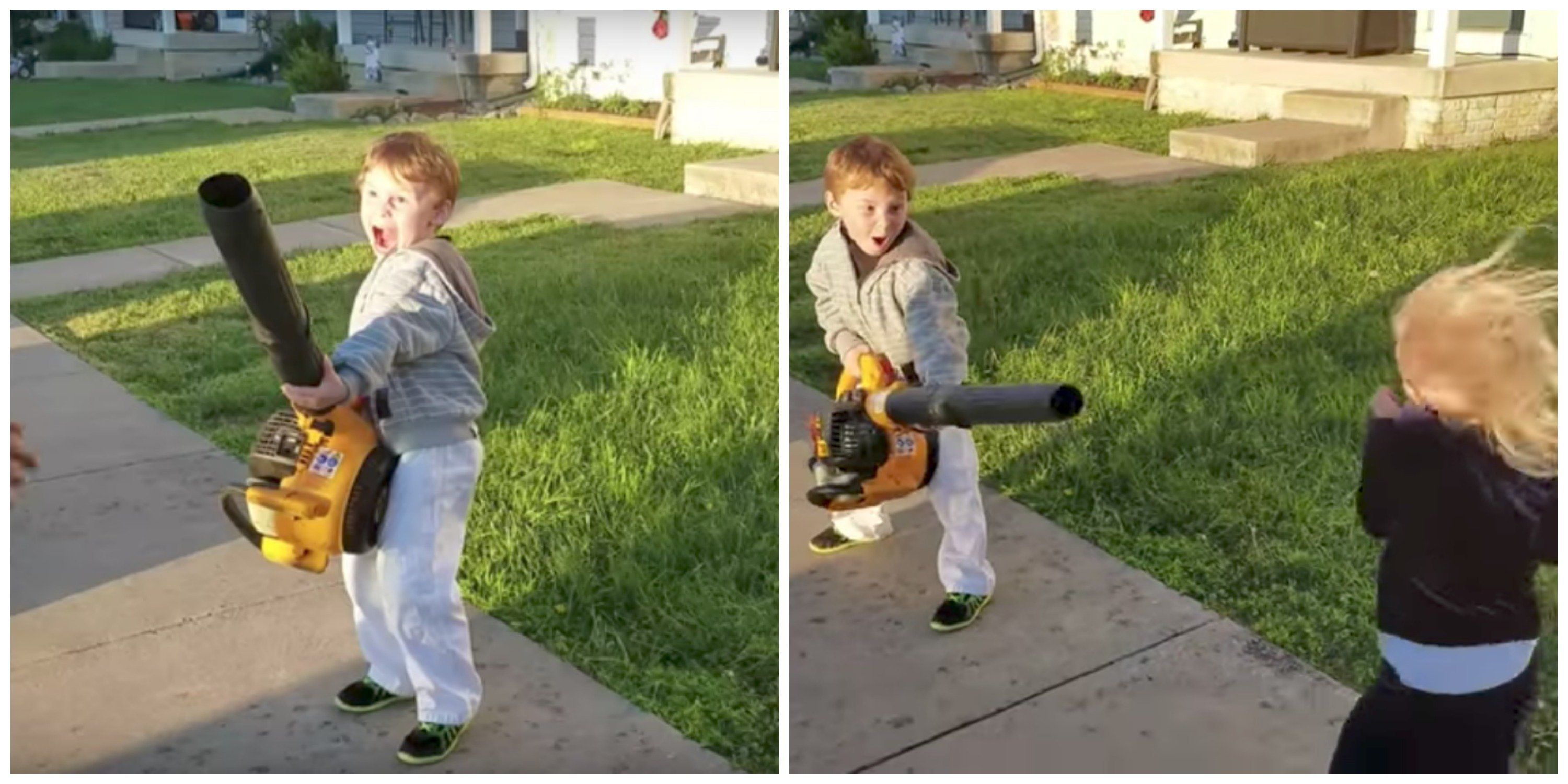 Boy Picks Up A Leaf Blower And Instantly Becomes Drunk With