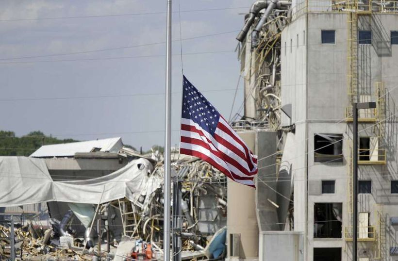 The flag at half-staff outside the Didion Milling plant in Cambria, WI.