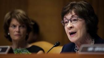 WASHINGTON, DC - JUNE 13:  Subcommittee chairman Sen. Susan Collins (R-ME) speaks during a Senate Commerce, Justice, Science, and Related Agencies Subcommittee hearing on the Justice Department's proposed FY18 budget  on Capitol Hill on June 13, 2017 in Washington, D.C. (Photo by Zach Gibson/Getty Images)