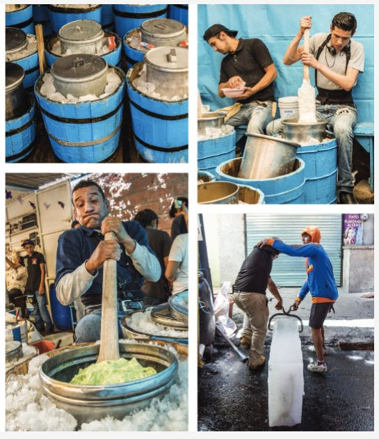 Traditional Mexican ice cream being churned.