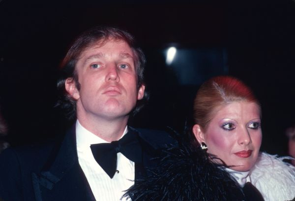 With Ivana Trump at Roy Cohn's birthday party in New York City.