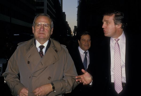 With Lee Iacocca and Bill Fugazy at the Steinbrenner wedding ceremony in New York City.