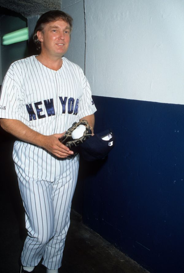 Posing for a portrait at Yankee Stadium.