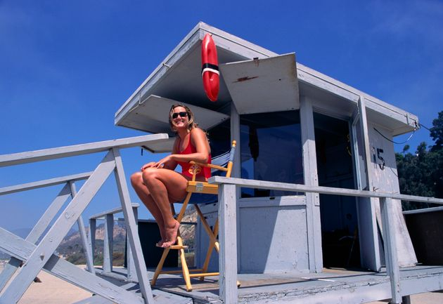A lifeguard station on the beach in Santa Monica,
