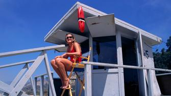 A lifeguard station on the beach at Santa Monica, setting of the hit TV series Baywatch. (Photo by �� Steve Starr/CORBIS/Corbis via Getty Images)
