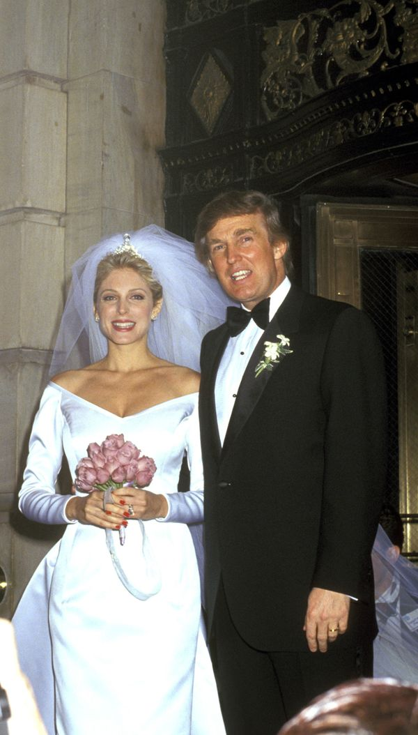 With Marla Maples at their wedding in New York City.