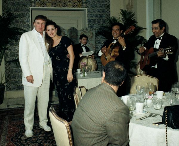 With Venezuelan beauty pageant winner Alicia Machado at the Mar-a-Lago estate in Palm Beach, Florida.
