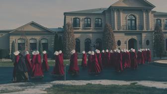 "The Handmaid's Tale  -- ""The Bridge"" Episode 109 -- Offred embarks on a dangerous mission for the resistance. Janine moves to a new posting.  Serena Joy suspects the Commander�s infidelity. (Photo by: George Kraychyk/Hulu)"