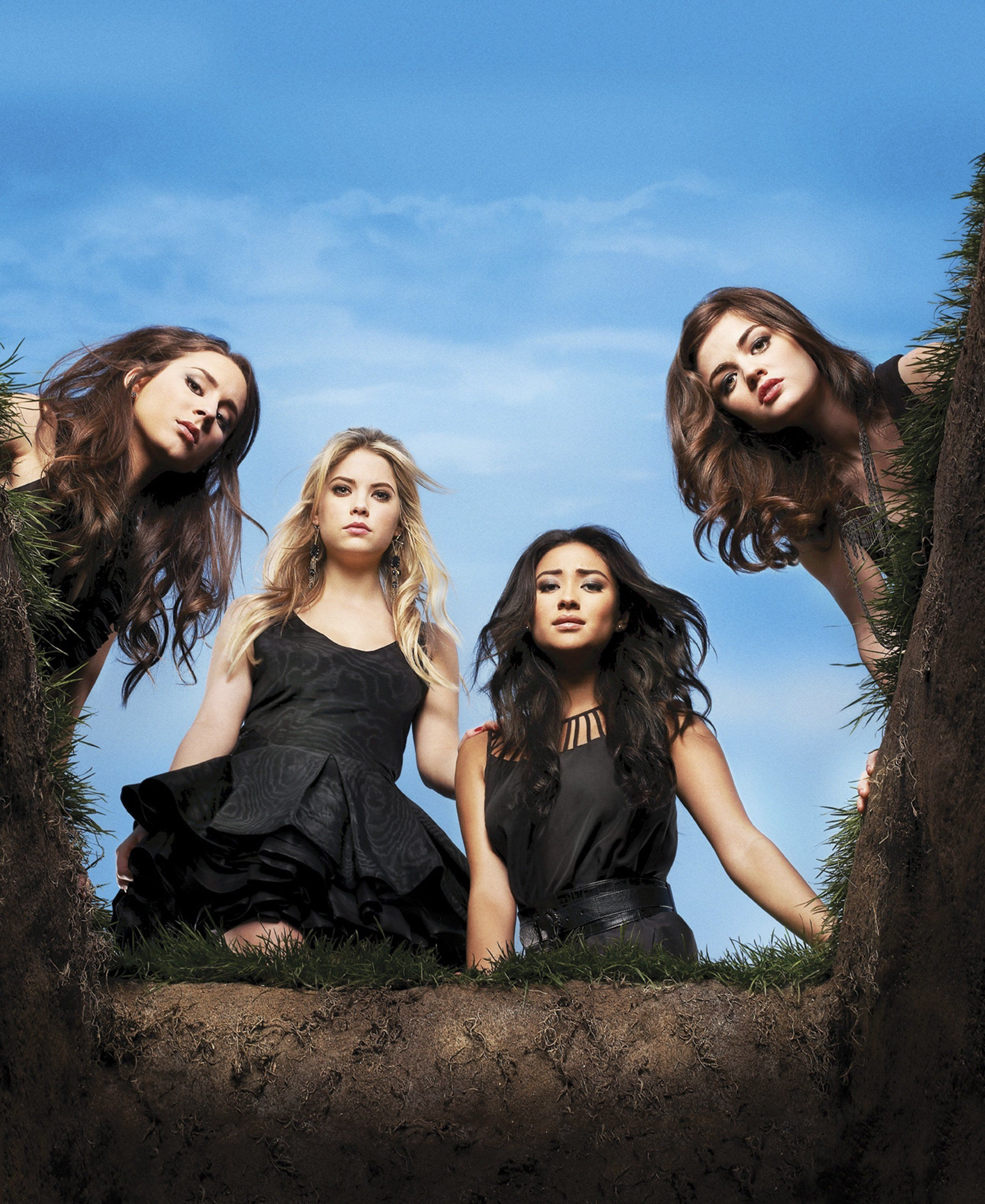 PRETTY LITTLE LIARS - ABC Family's 'Pretty Little Liars' stars Troian Bellisario as Spencer Hastings, Ashley Benson as Hanna Marin, Shay Mitchell as Emily Fields and Lucy Hale as Aria Montgomery. (Photo by Andrew Eccles/ABC Family via Getty Images)