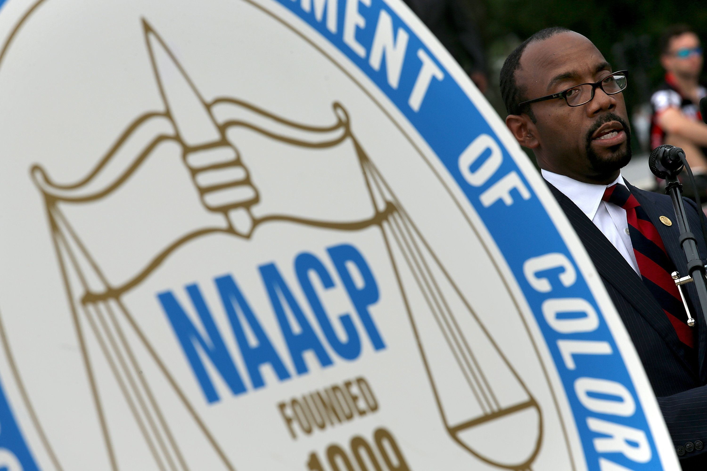 WASHINGTON, DC - JUNE 15: NAACP President and CEO Cornell William Brooks speaks during a press conference at the Lincoln Memorial June 15, 2015 in Washington, DC. Brooks announced 'America's Journey for Justice,' an 860-mile march from Selma, Alabama to Washington, D.C. and a campaign 'to protect the right of every American to a fair criminal justice system, uncorrupted and unfettered access to the ballot box, sustainable jobs with a living wage, and equitable public education.'   (Photo by Win McNamee/Getty Images)