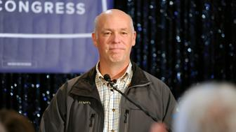 FILE PHOTO - U.S. House of Representative elect Greg Gianforte delivers his victory speech during a special congressional election in Bozeman, Montana, U.S. on May 25, 2017. REUTERS/Colter Peterson/File Photo