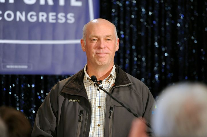 Montana Rep. Greg Gianforte (R) delivers his victory speech on May 25, the day a Sinclair Broadcasting Group exec donated $1,