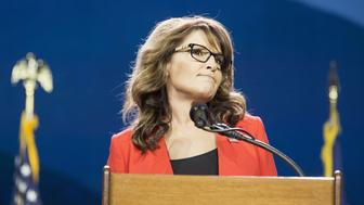 Sarah Palin, former governor of Alaska, pauses while speaking during the Western Conservative Summit in Denver, Colorado, U.S., on Friday, July 1, 2016. Republican presidential candidate Donald Trump is looking to project party unity in the Hamptons next week, when he'll huddle with Republican National Committee Chairman Reince Priebus at a fundraiser featuring top donors to some of his former rivals. Photographer: Matthew Staver/Bloomberg via Getty Images