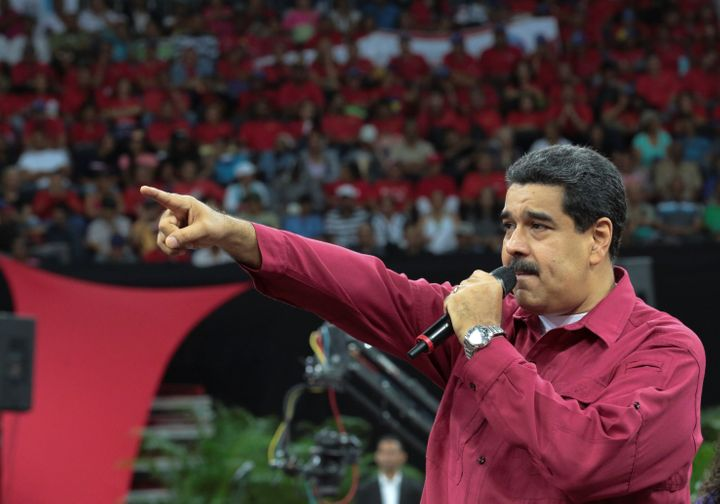 Venezuela's President Nicolas Maduro speaks during a gathering in Caracas.