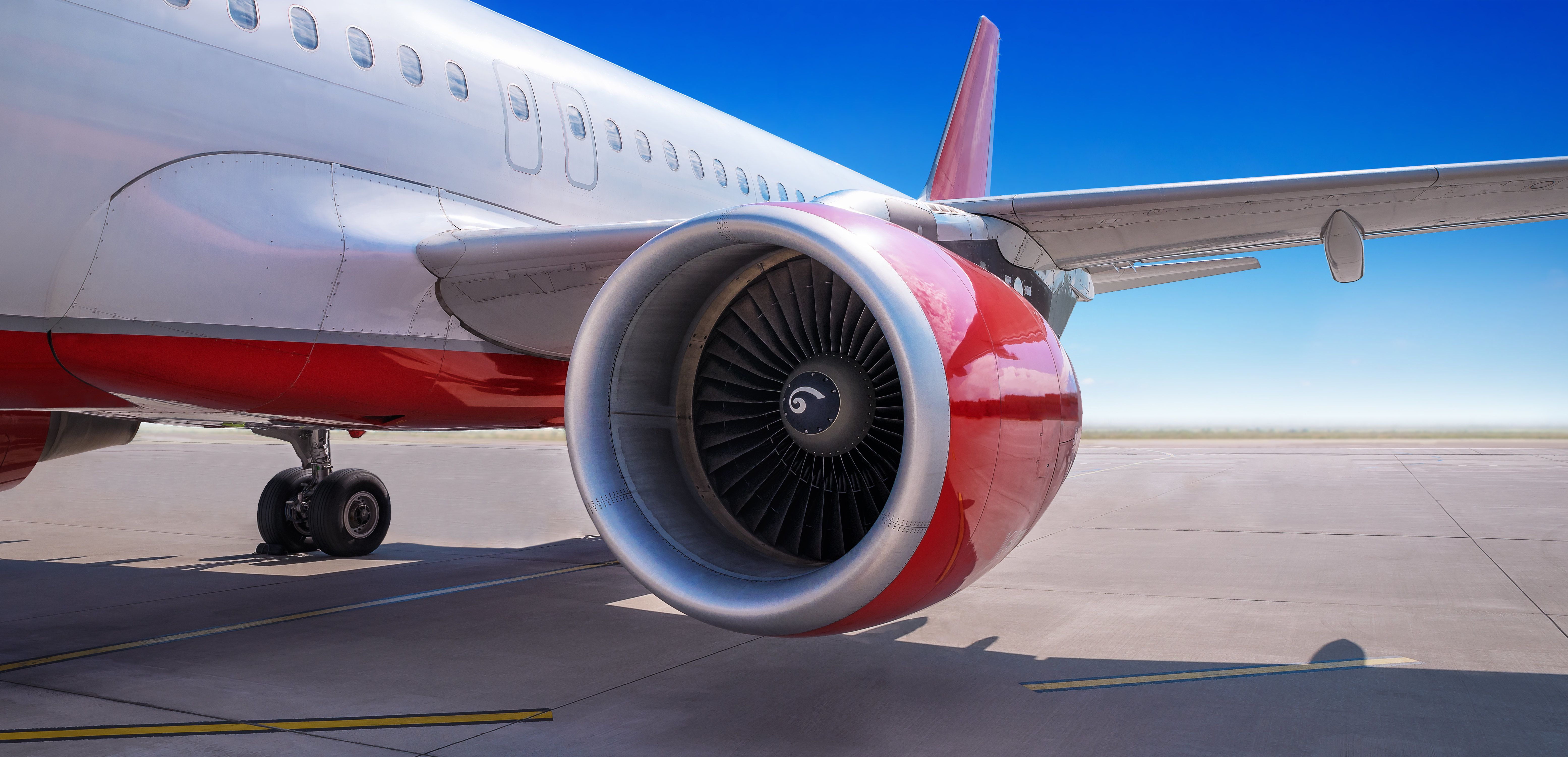 turbine of an airliner on the runway
