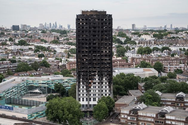The burned remains of the Grenfell Tower block in