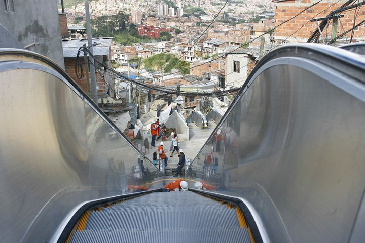 Escalators move tens of thousands of people in Medellin, bringing disconnected neighbourhoods into the fold.