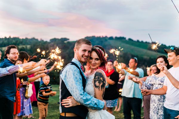 """""""Katie andGarrett married outside of Knoxville, Tennessee, complete with the coolest sky ever!"""" --<i>Quinn Barlow"""