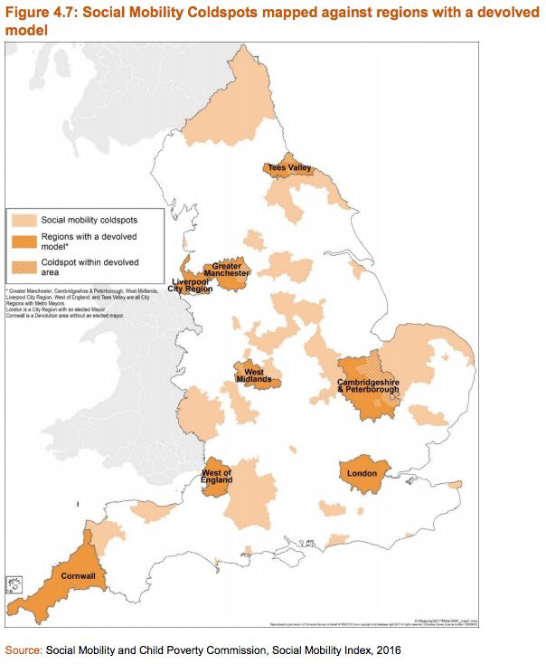 The so-called 'cold spots' of poor social mobility highlighted in light orange on this