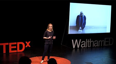<p>Dr. Boger giving her TEDx talk on pediatric anxiety</p>
