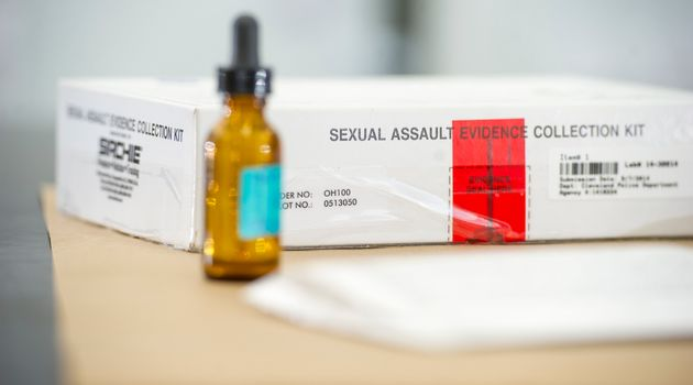 A sexual assault evidence collection kit from the Ohio Bureau of Criminal Investigation