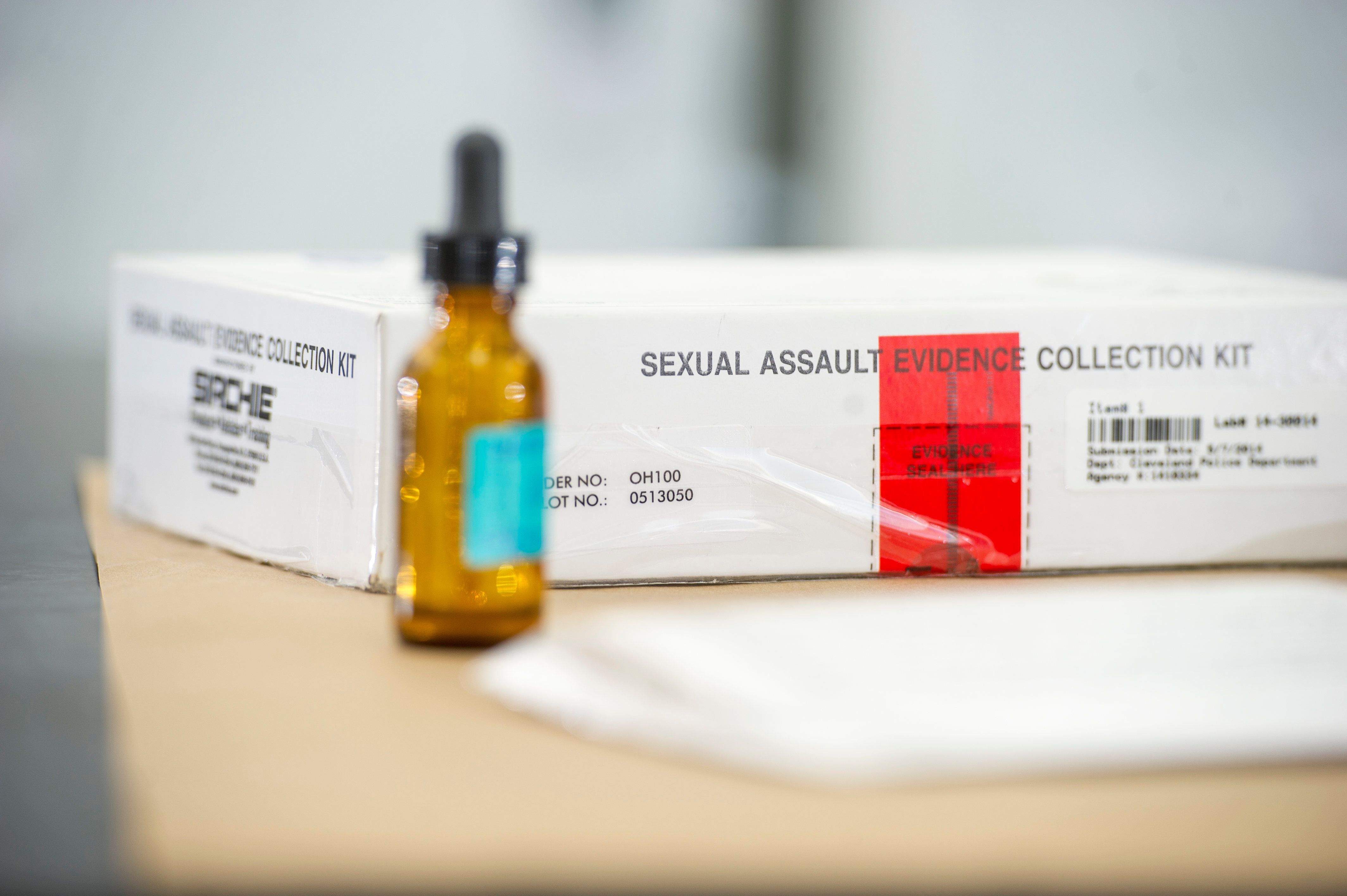 A sexual assault evidence collection kit from the Ohio Bureau of Criminal Investigation Laboratory.
