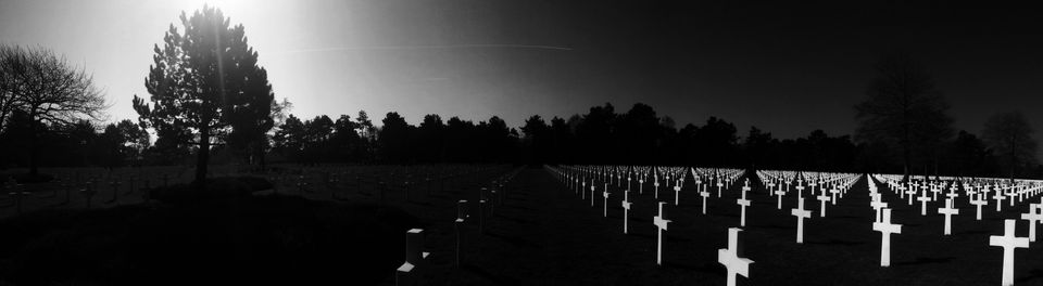 """Nick Trombola. Pittsburg PA, United States. <strong>1st Place –Panorama.<br /><br /><i><br />""""</i></strong><i>This photo was taken at the American cemetery in Normandy, France in March 2016 as my best attempt to do it justice. There is a kind of indescribably transcendent quality to the memorial that I've never really felt anywhere else. It remains to this day my favorite place I've ever been, and the way the sun reflects off the perfect white headstones in this photo always remind me of the feeling of wholeness I have when I go there.""""</i><strong><br /></strong>"""