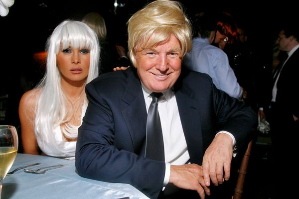 "With Melania Trump at Woody Johnson's ""Wig Out"" 60th birthday party in New York City."