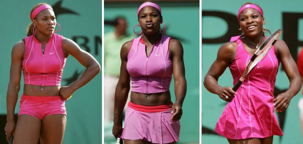 Wearing three different outfits during her first three matches at the 2004 French Open in Paris.