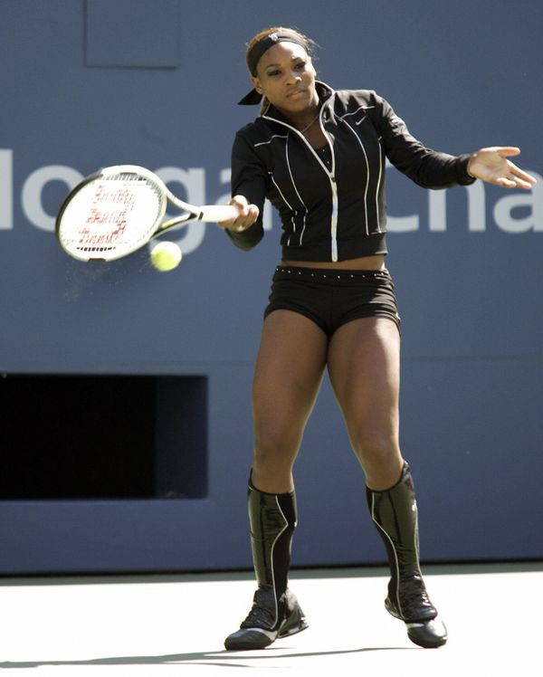 Warming upin her match against Lindsey-Lee Waters at the 2004 US Open at Arthur Ashe Stadium on Sept. 1, 2004.