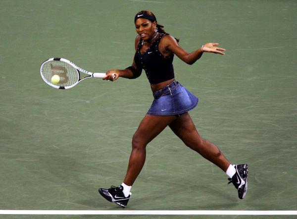 Returninga shot during her match against Sandra Kleinova during the US Open on Aug. 30, 2004.