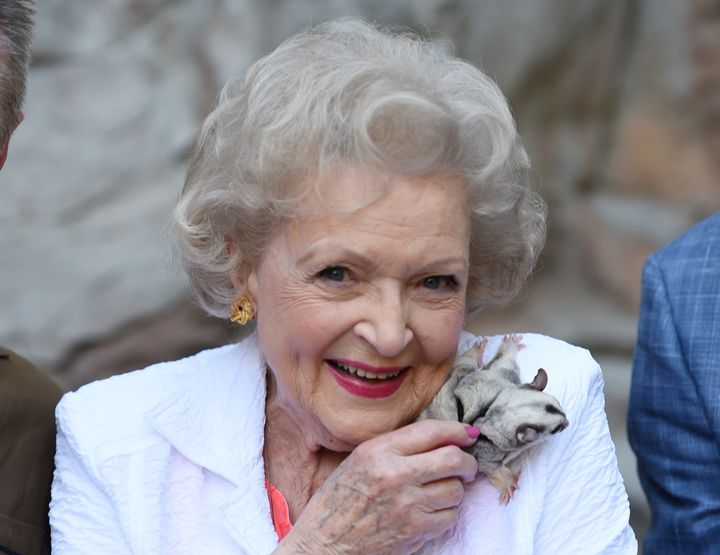 Will you just look at Betty White holding this sugar glider?