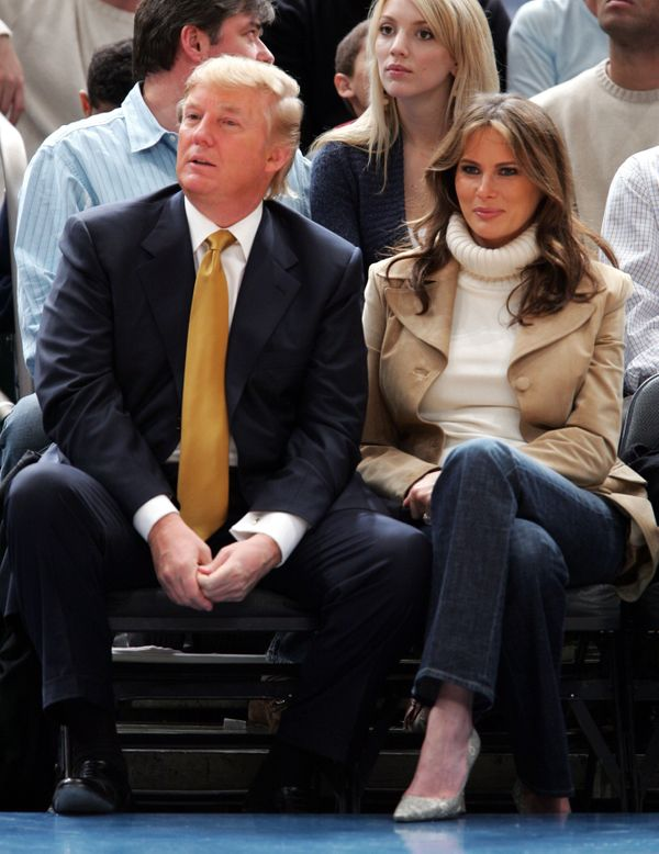 With Melania Trump at the Washington Wizards vs New York Knicks game in New York City.