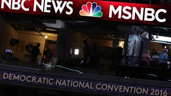 PHILADELPHIA, PA - JULY 24:  A booth of NBC News and MSNBC is seen at the Wells Fargo Center on July 24, 2016 in Philadelphia, Pennsylvania. The Democratic National Convention opens July 25.  (Photo by Alex Wong/Getty Images)