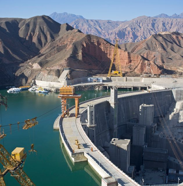 A hydropower station and dam in Jianzha County, Qinghai Province,