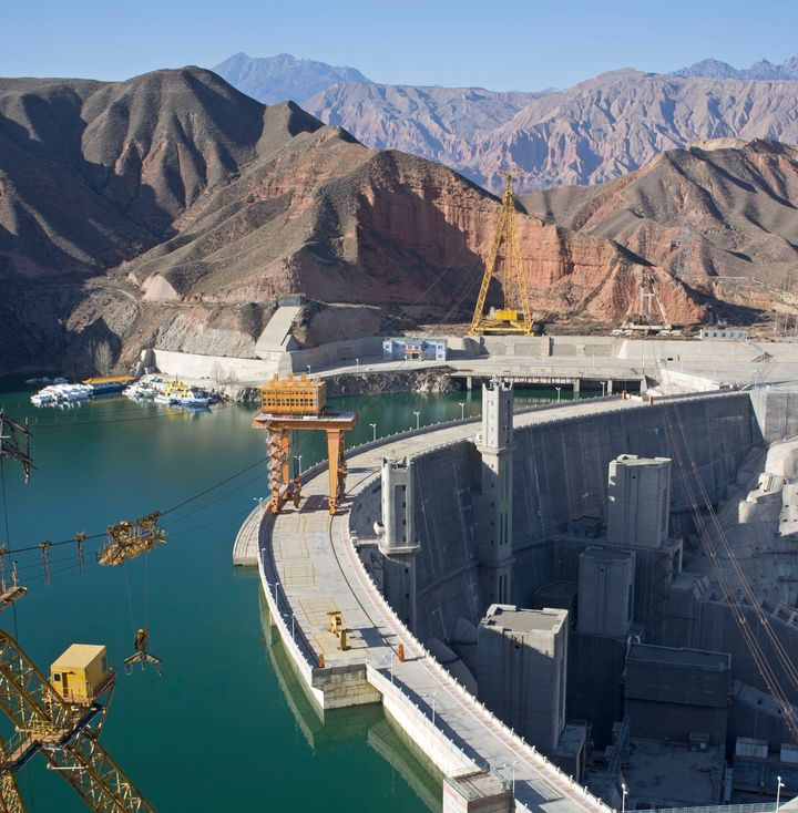 A hydropower station and dam in Jianzha County, Qinghai Province, China.