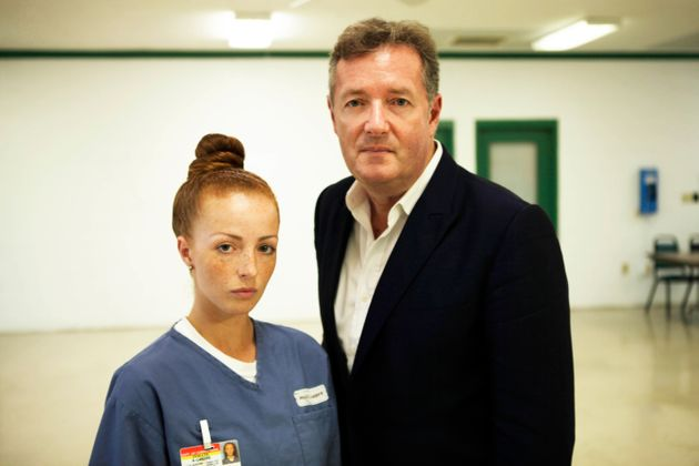 Amber Wright with Piers Morgan atthe Homestead Correctional Institution in