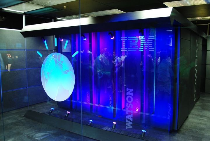 An early prototype of the IBM Watson cognitive computing system in Yorktown Heights, NY. It was originally the size of a mas