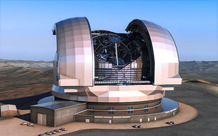 An artist's impression shows the European Extremely Large Telescope (E-ELT) which uses CODEX as an optical, very stable, hig