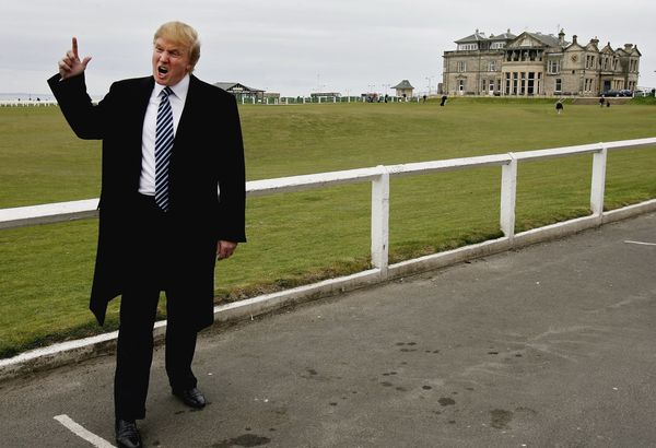 At theOld Course in St. Andrews where he met with the media to answer questions regarding Trump International Golf Link