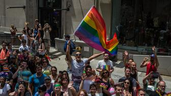 NEW YORK JUNE 25:  Onlookers cheer the marchers walking down 5th Ave in the annual New York Gay Pride Parade on June 25, 2017 in New York City. (Photo by Maite H. Mateo/VIEWpress/Corbis via Getty Images)
