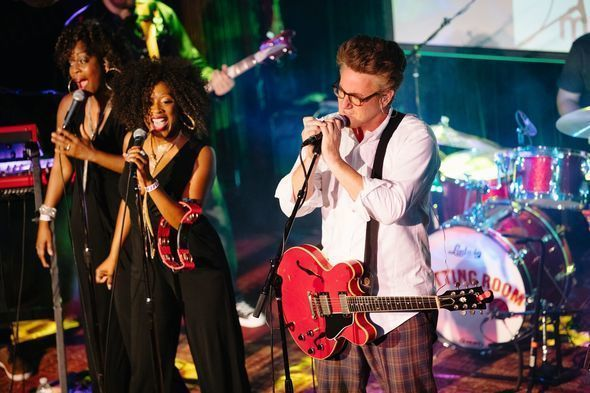 Scarborough live at NYC's The Cutting Room. l-r: Tanesha Gary, Rosalind Brown, Joe Scarborough
